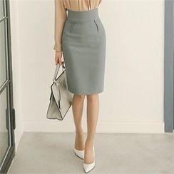 ode' - Zip-Side Slit-Hem Pencil Skirt
