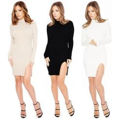 Hotprint - Mock Neck Long Sleeve Side Slit Dress