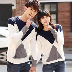 Igsoo - Couple Long-Sleeve Contrast Color Knit Top
