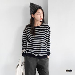 OrangeBear - Velvet Striped Cotton Sweatshirt