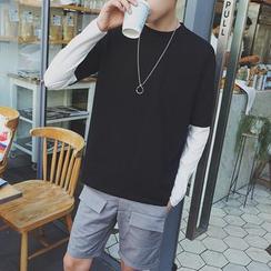 Masowild - Mock Two-piece Contrast Long-Sleeve T-shirt