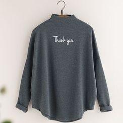11.STREET - Lettering Mock Neck Long Sleeve T-Shirt