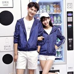 TOOI - Couple Matching Striped Hooded Zip Jacket