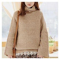 Sechuna - Turtle-Neck Raglan-Sleeve Knit Top