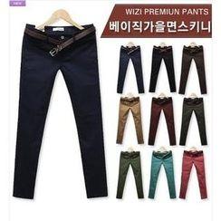 WIZIKOREA - Slim-Fit Cotton Pants