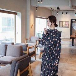 mimi&didi - Pleated Flower Pattern Midi Dress