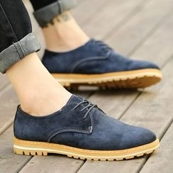 Shino - Genuine-Leather Lace-Up Oxfords