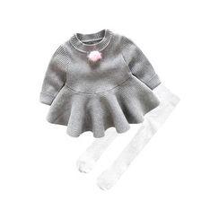 MOM Kiss - Baby Set: Pompom Long Sleeve Dress + Tights