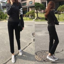 NIPONJJUYA - High-Waist Knit Tapered Pants
