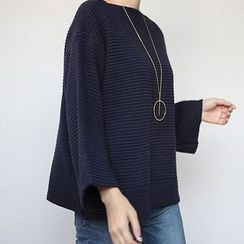 STYLEBYYAM - Loose-Fit Wide-Sleeve Knit Top