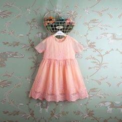 Kidora - 小童短袖刺绣连衣裙