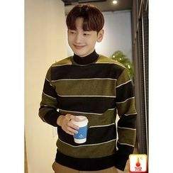 JOGUNSHOP - Mock-Neck Color-Block Sweatshirt