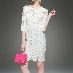 Alaroo - Flower Lace Panel Sheath Dress