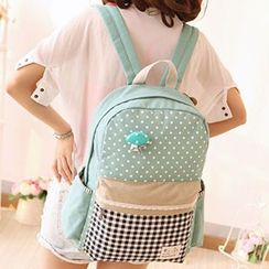 Canvas Love - Dotted Gingham Panel Backpack