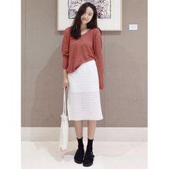 maybe-baby - Perforated Midi Skirt