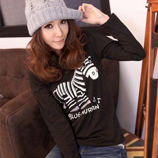 RingBear - Rhinestone Zebra-Print Scoop-Neck T-Shirt