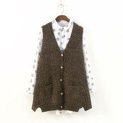 Ranche - Buttoned Melange Knit Vest