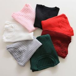Jelly Cake - Short-Sleeve Plain Knit Top