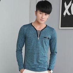 Walwa - Zip Neck Long-Sleeve T-shirt