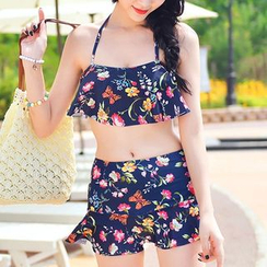 Seabird - Set: Floral Print Ruffle Bikini Top + Swim Skirt