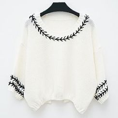 Polaris - Patterned Trim 3/4-Sleeve Knit Top