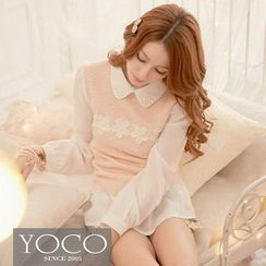 Tokyo Fashion - Beaded-Collar Rosette Blouse