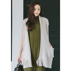 REDOPIN - Shawl Collar Fringed-Hem Knit Vest