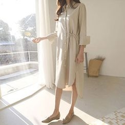 Hello sweety - Tie-Waist Dip-Back Shirtdress