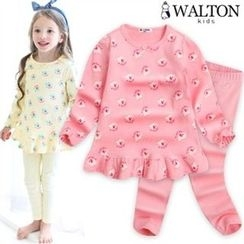 WALTON kids - Kids Pajama Set: Elephant-Pattern Top + Pants