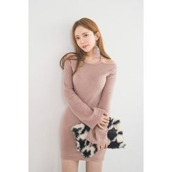 migunstyle - Cutout-Shoulder Bell-Sleeve Minidress