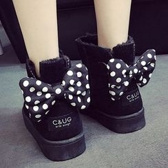 SouthBay Shoes - Dotted Bow Accent Snow Boots