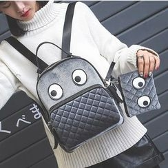 Aishang - 套装: 丝绒背包 + 手包