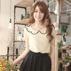 Tokyo Fashion - Short-Sleeve Beaded-Collar Lace Top