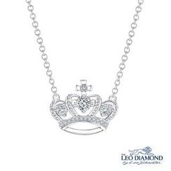 Leo Diamond - 18K White Gold Diamond Accent Milgrain Crown of Queen with Cross Princess Pendant Necklace (16')