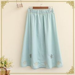 Fairyland - Embroidered Midi Denim Skirt