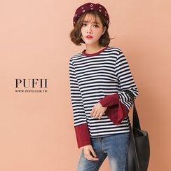 PUFII - 開叉寬袖接色條紋上衣