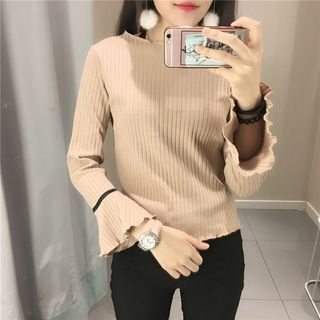 Tiny Times - Contrast Trim Long Bell Sleeve Knit Top
