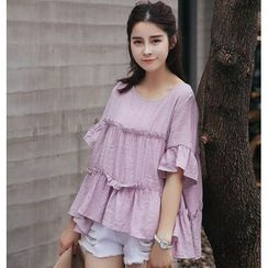 SUYISODA - Elbow Sleeve Tiered Blouse