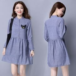 Supernova - Long-Sleeve Pinstriped A-line Dress