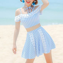 Sweet Splash - Set: Striped Off Shoulder Swim Top + Swim Skirt