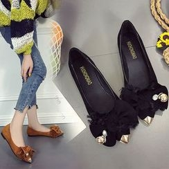 Sofree - Bow Accent Pointed Flats
