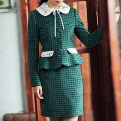 GU ZHI - Set: Paneled Embroidered Buttoned Jacket + Check Skirt