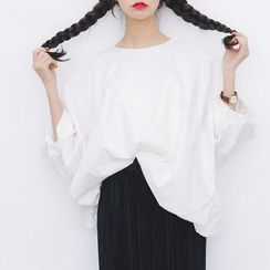 Porta - Puff-sleeve Loose-fit Top
