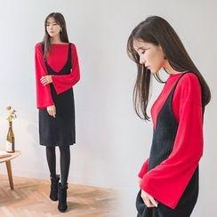 WITH IPUN - Tie-Shoulder Knit Dress