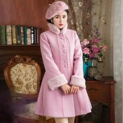 GU ZHI - Wool Blend Paneled Buttoned Coat