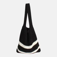 WITH IPUN - Contrast-Trim Knit Shopper Bag
