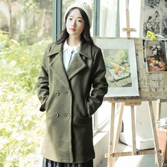 Sens Collection - Notch Lapel Double Breasted Long Coat