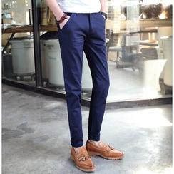 Consto - 純色棉質長褲