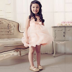 Holiday Lady - Kids Rosette Sleeveless Bubble Dress