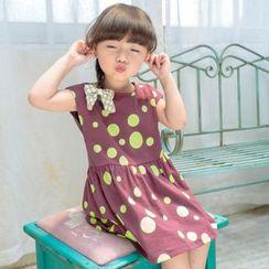 柠檬嘟嘟 - 小童饰蝴蝶结圆点短袖连衣裙